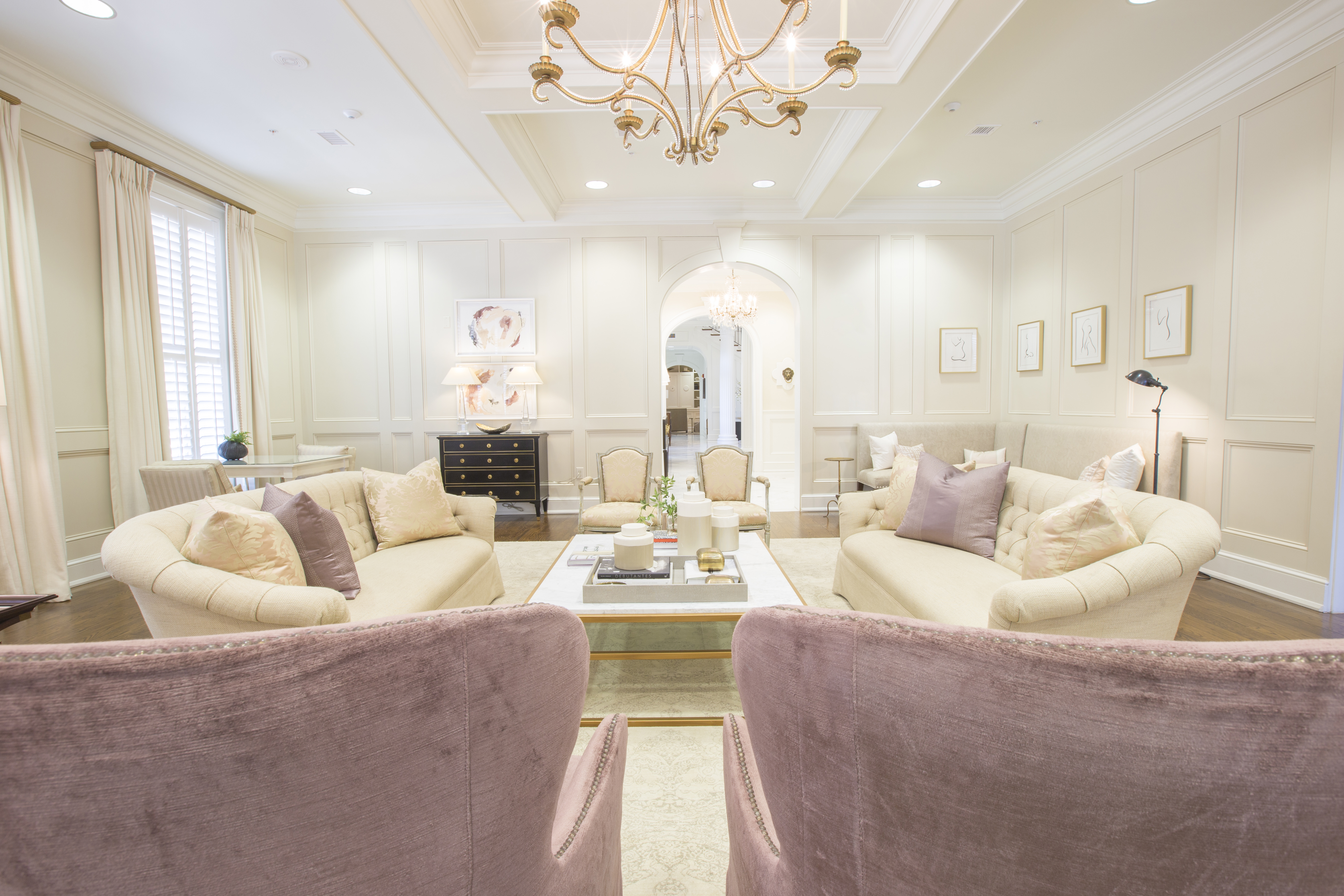 Top Interior Designers in Tuscaloosa dinning room living room furniture pink
